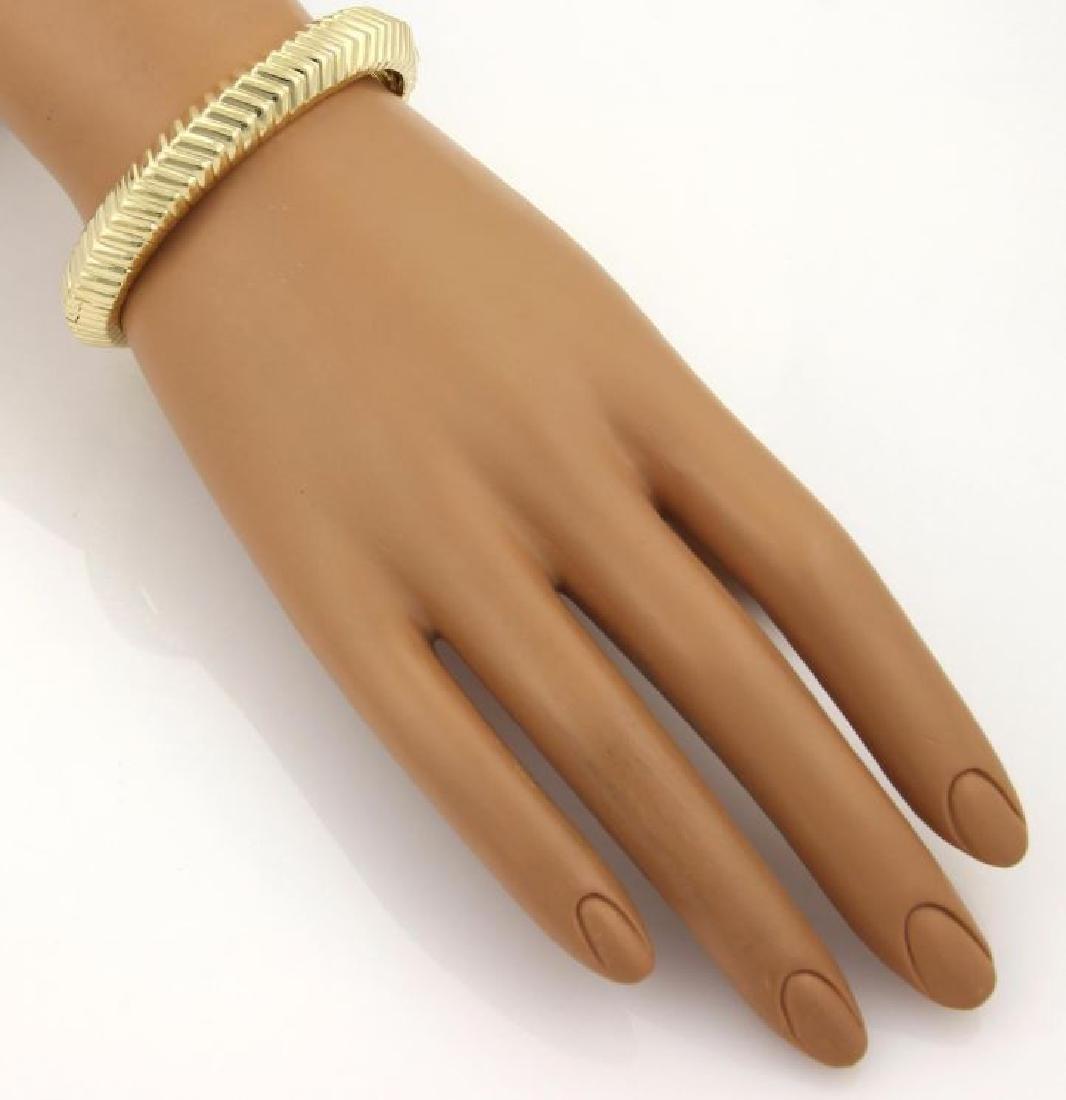 Tiffany&Co Cordis 18k Gold Grooved Bangle Bracelet - 5
