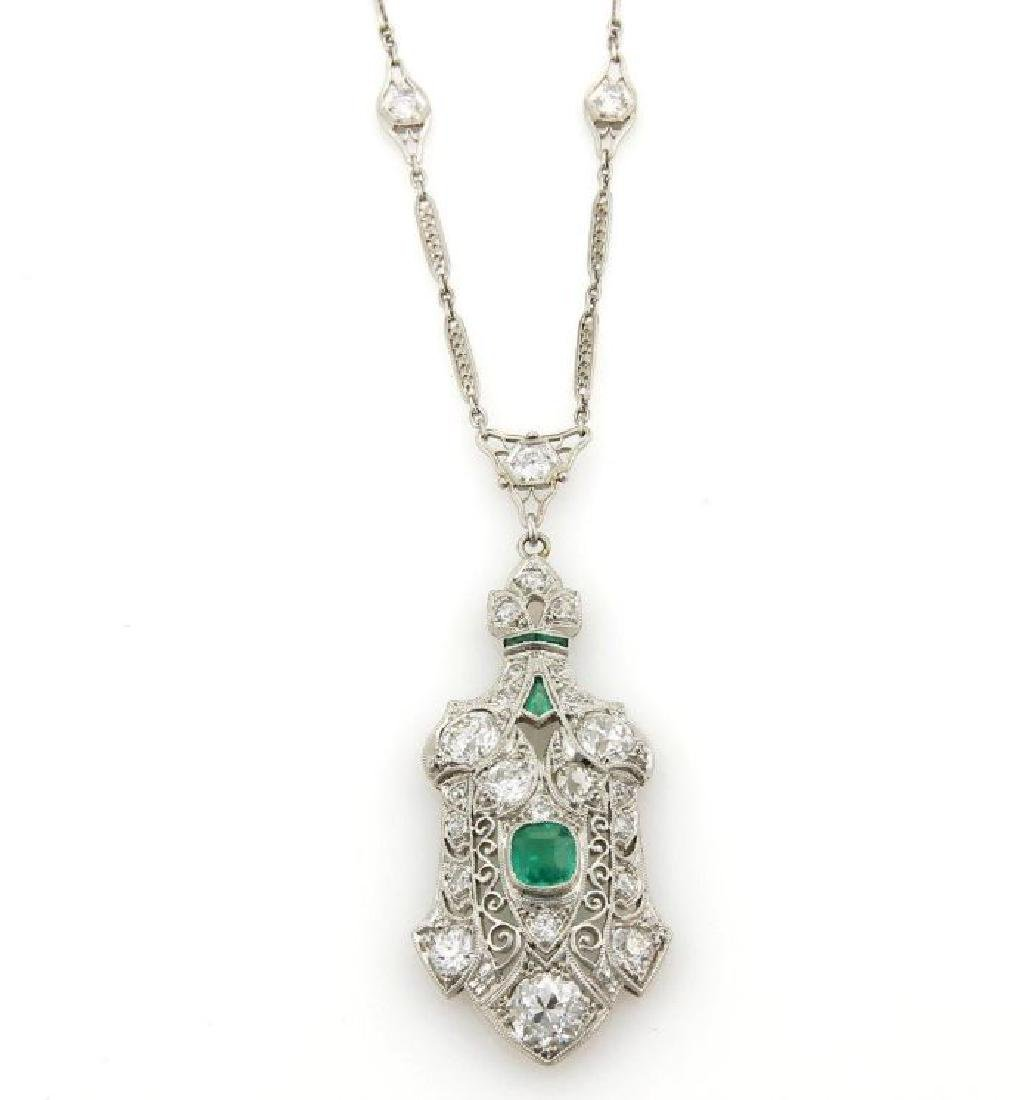 Estate Diamond Emerald Platinum Filigree Necklace