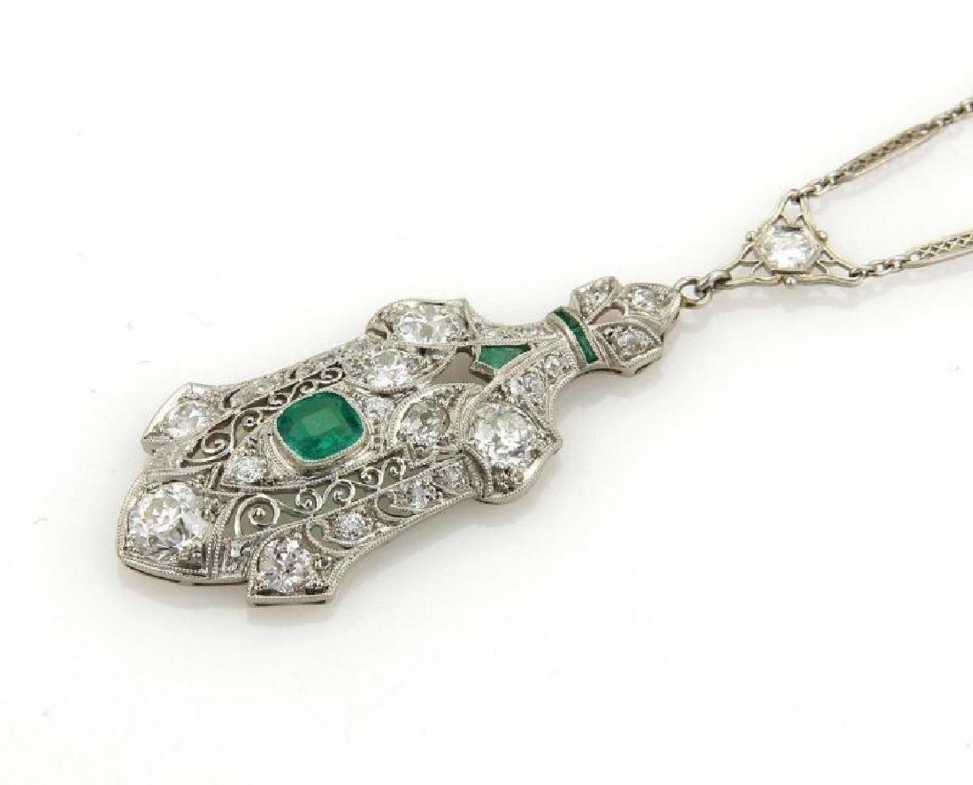 Estate Diamond Emerald Platinum Filigree Necklace - 3