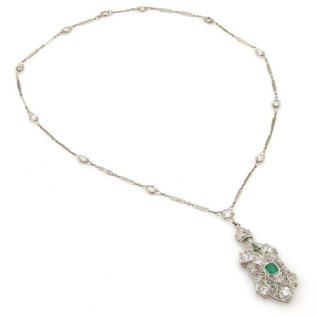 Estate Diamond Emerald Platinum Filigree Necklace - 4