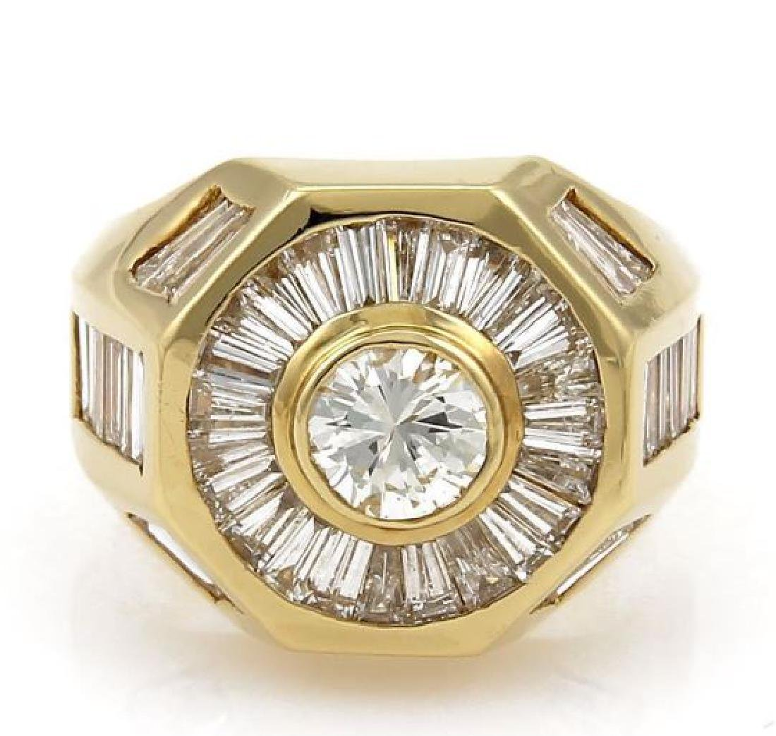 5.40ct Diamond 18k Yellow Gold Octagon Shape Ring