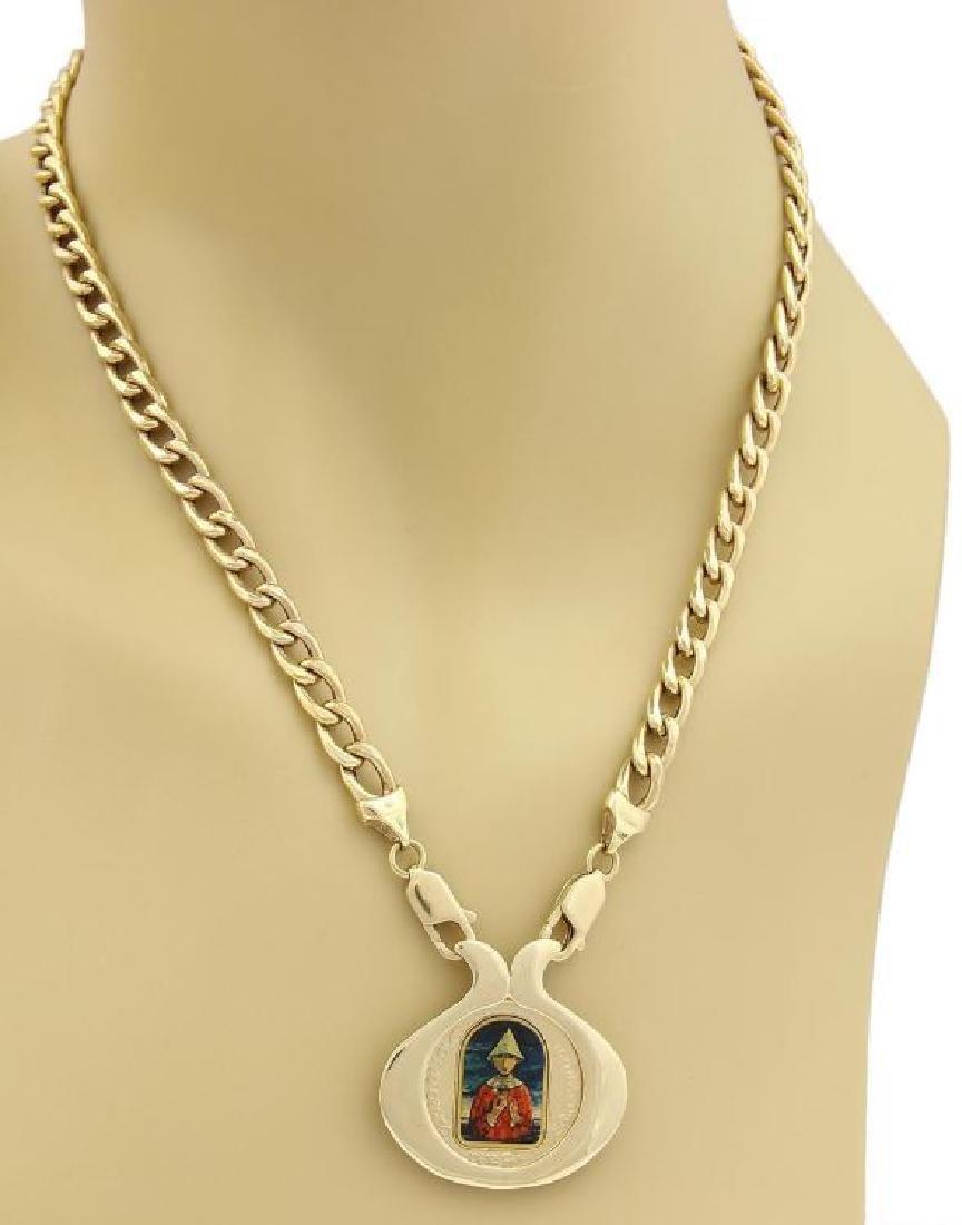 Marc Chagall Porcelain 14k Gold Coin Pendant&Chain - 2
