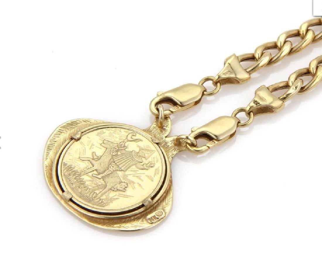 Marc Chagall Porcelain 14k Gold Coin Pendant&Chain - 4