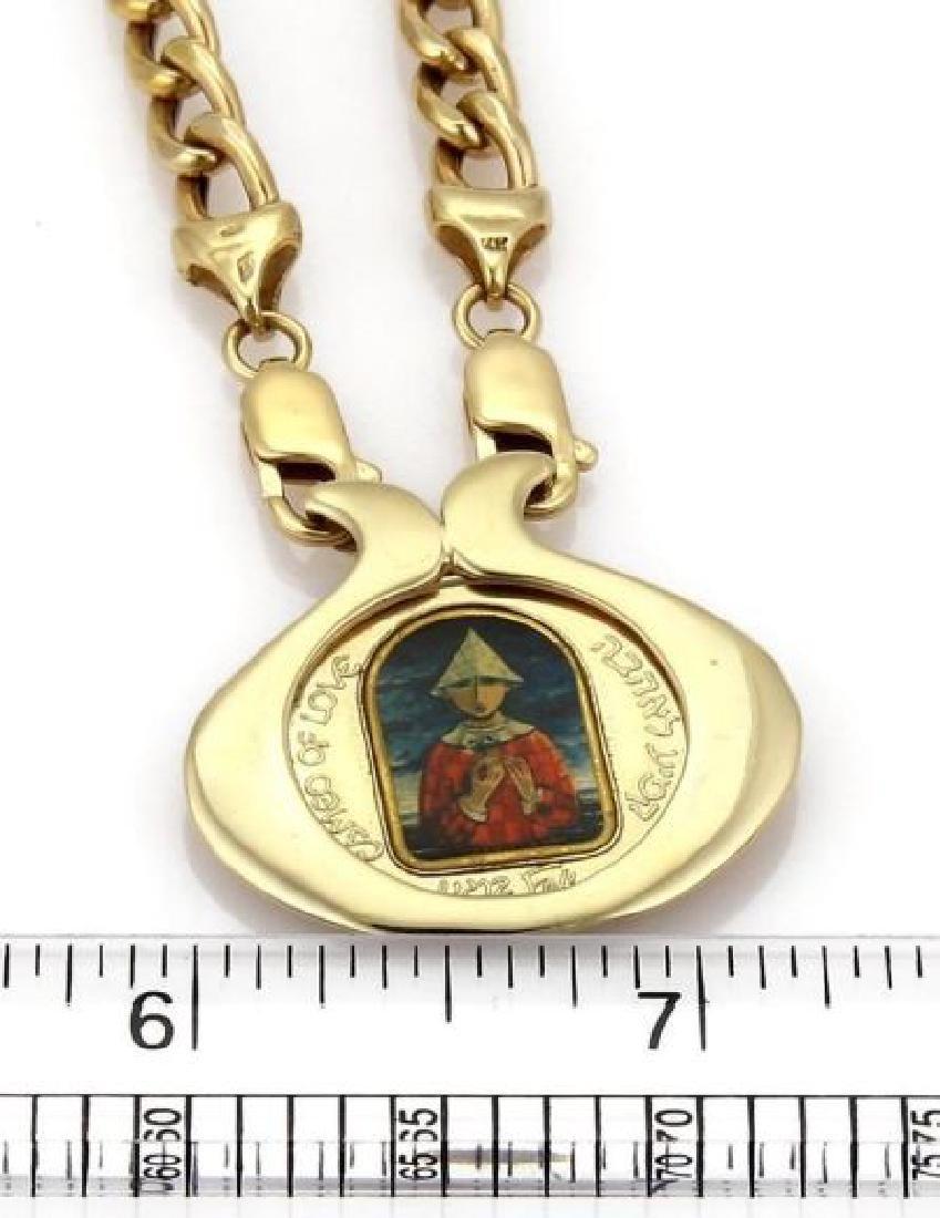 Marc Chagall Porcelain 14k Gold Coin Pendant&Chain - 5