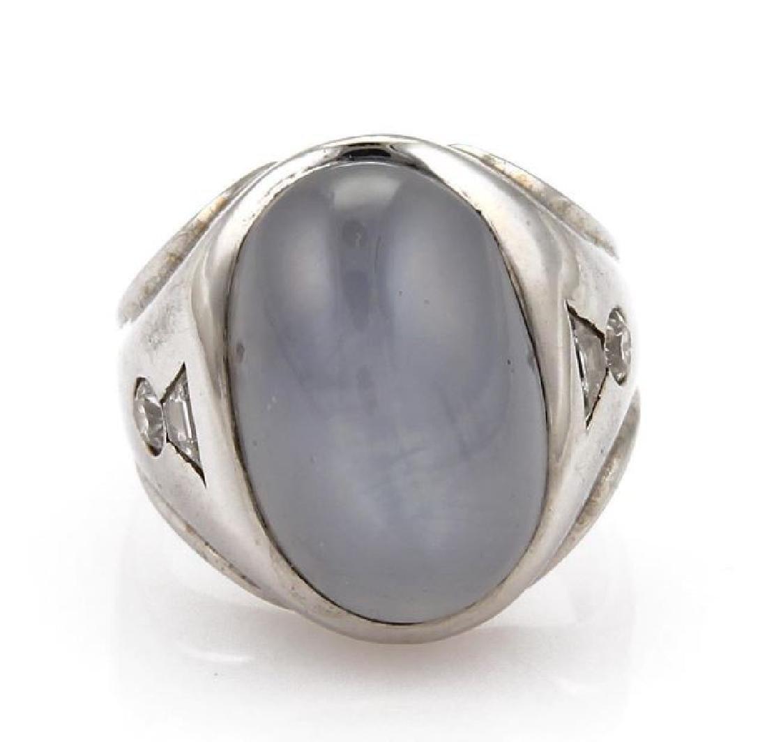 40ct Star Sapphire, Diamond 14k Gold Cocktail Ring