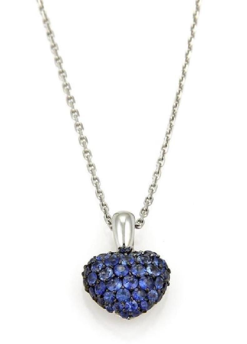 Chopard Sapphire Heart Pendant 18k Gold Necklace
