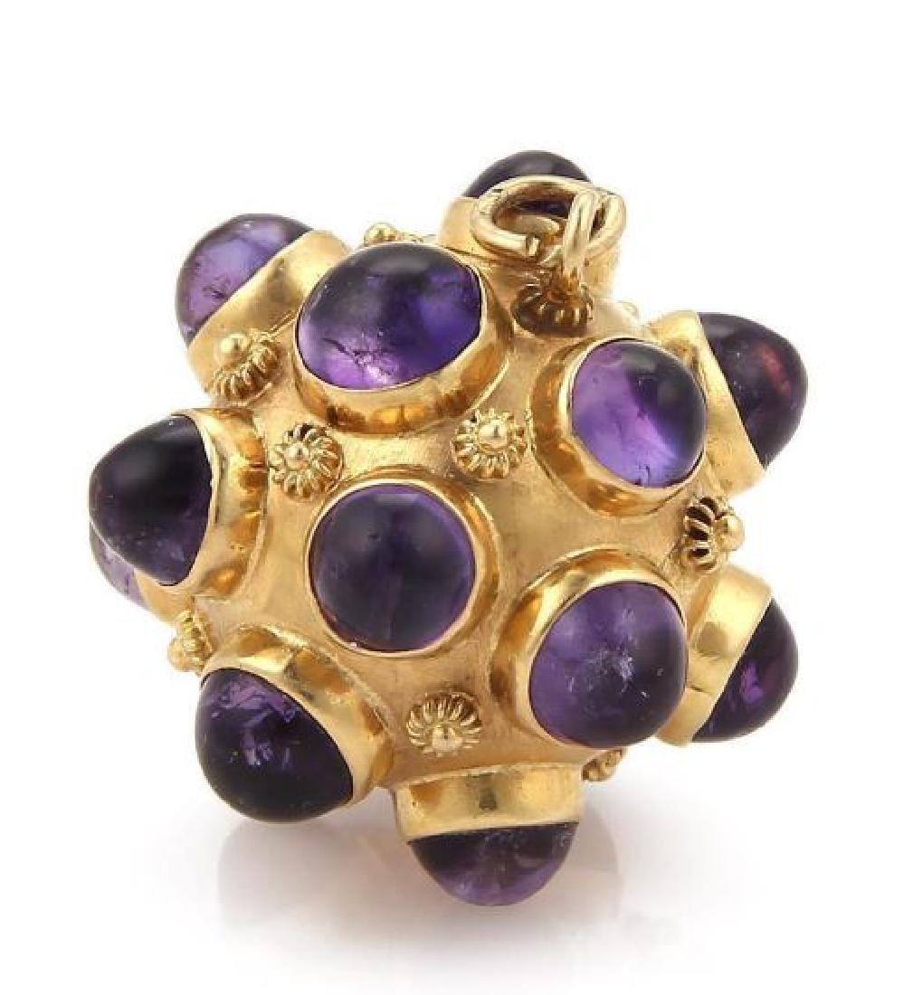 Cabochon Amethyst 18k Gold Sputnik Ball Pendant