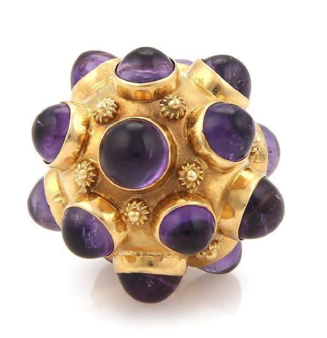 Cabochon Amethyst 18k Gold Sputnik Ball Pendant - 3