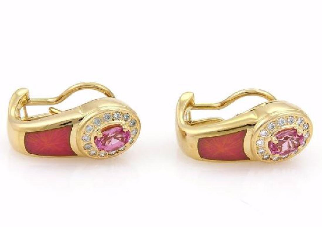 Faberge Diamond Sapphire, Enamel 18k Gold Earrings