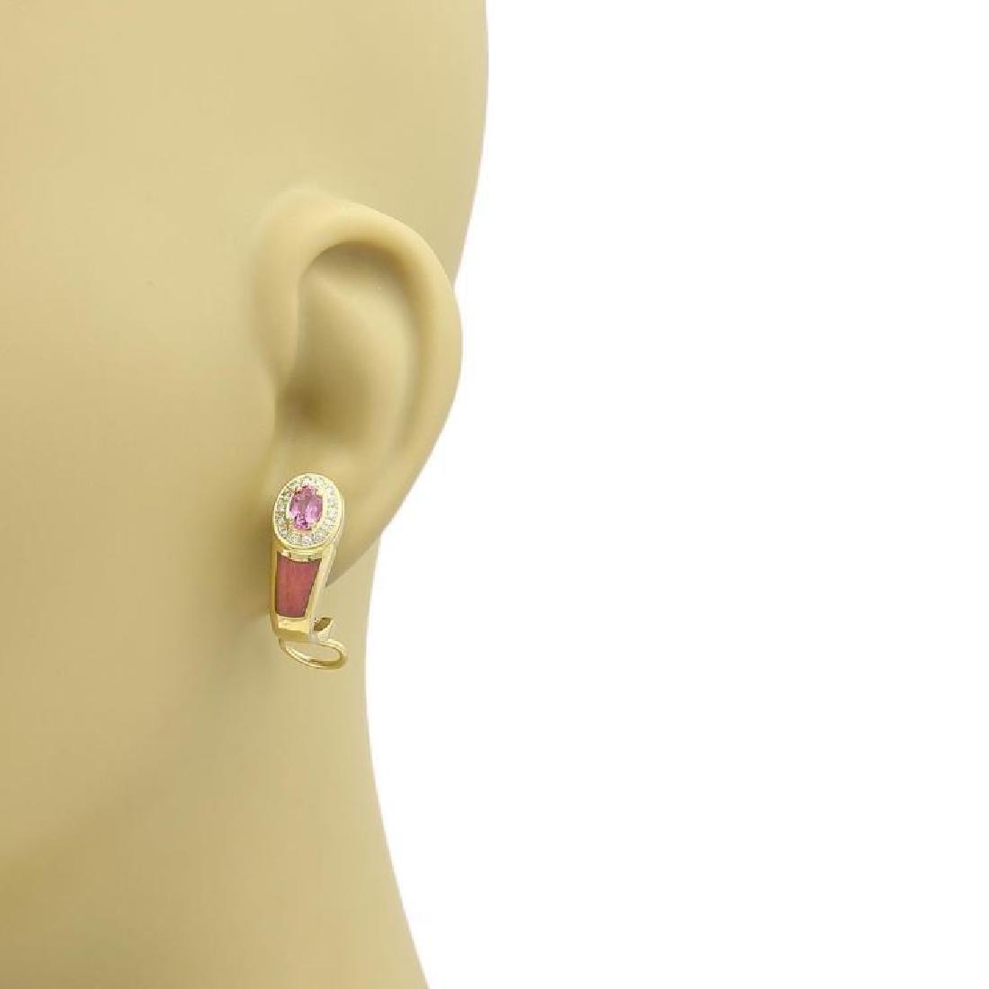 Faberge Diamond Sapphire, Enamel 18k Gold Earrings - 2