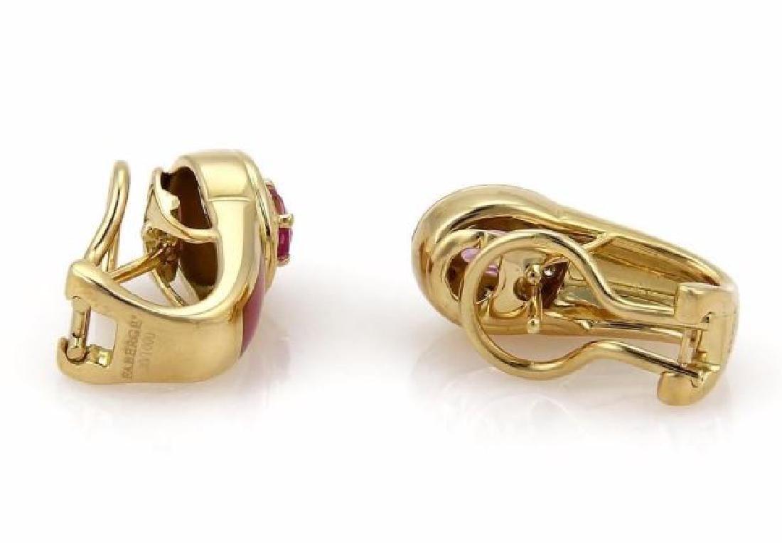 Faberge Diamond Sapphire, Enamel 18k Gold Earrings - 3