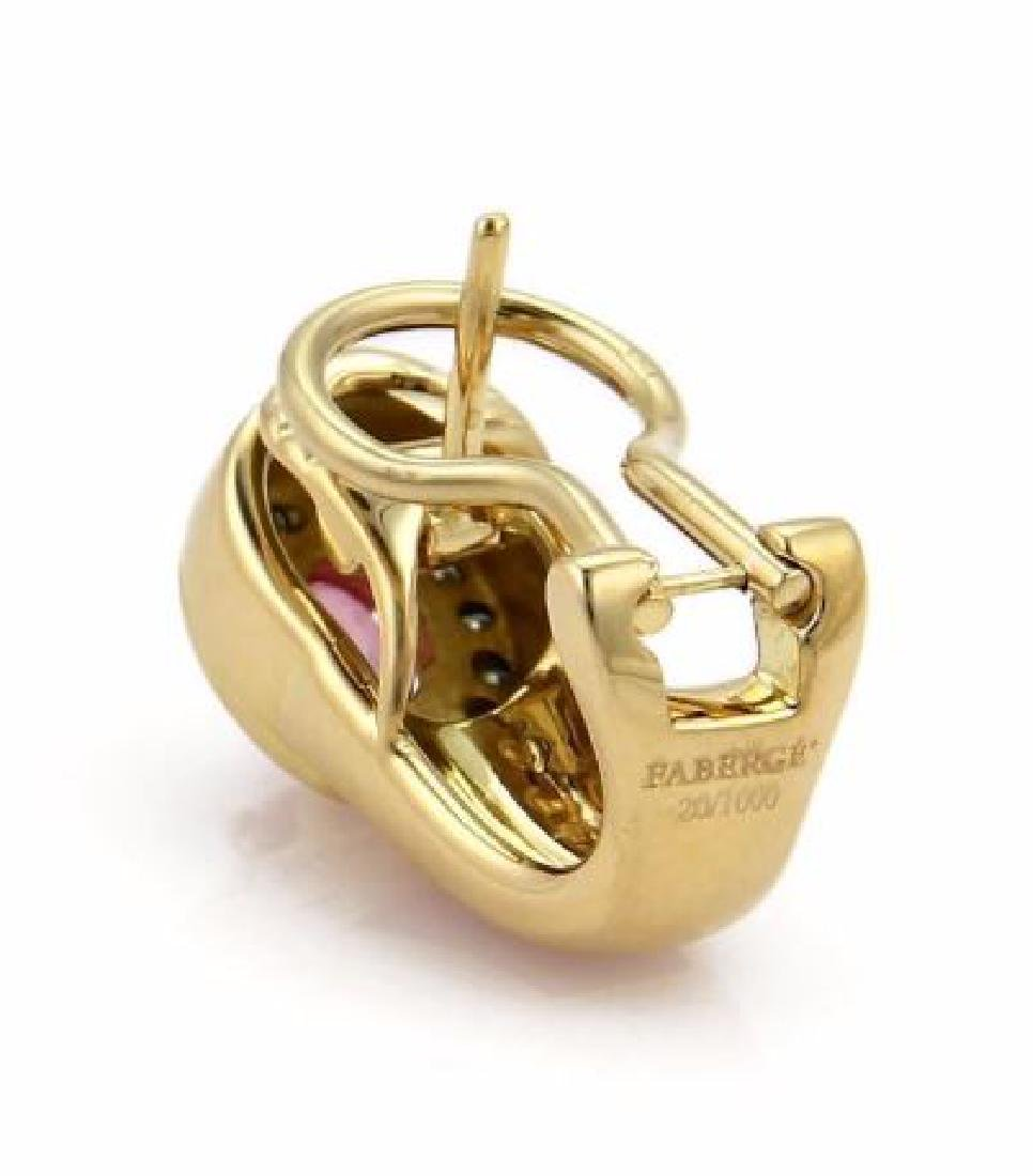 Faberge Diamond Sapphire, Enamel 18k Gold Earrings - 4