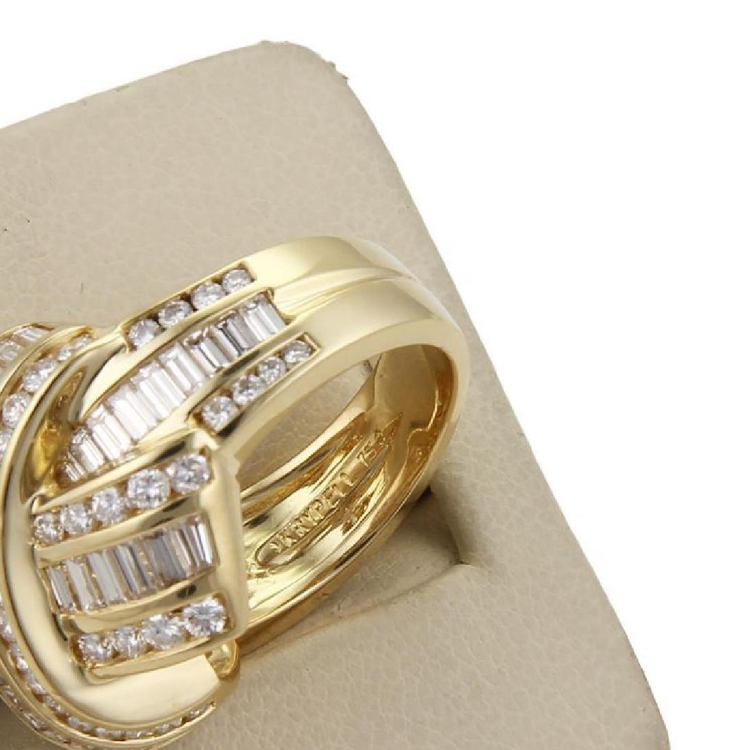 Charles Krypell Diamond X Crossover 18k Gold Ring - 5
