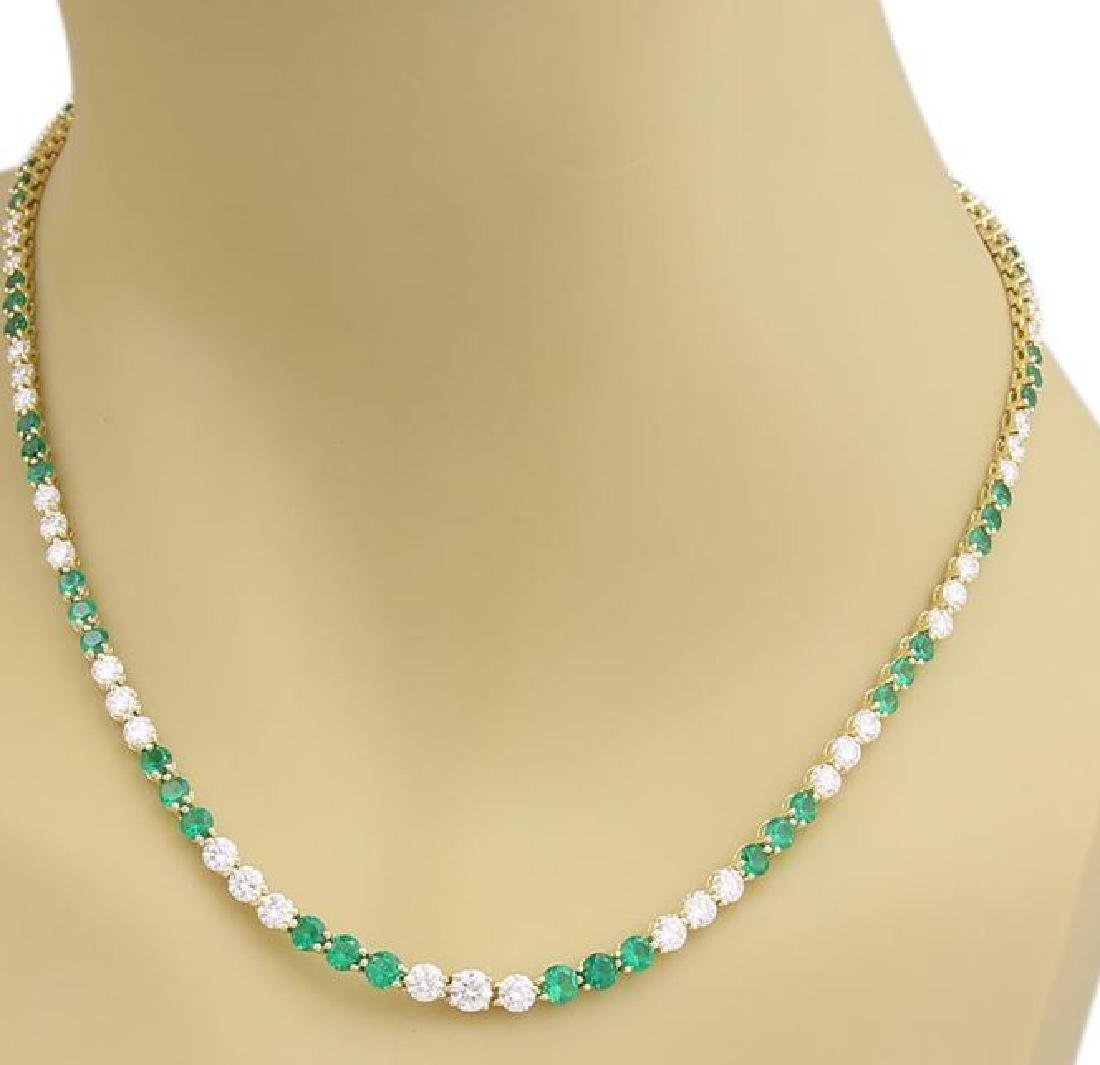 9.50ct Diamonds Emerald 18k Gold Tennis Necklace - 2