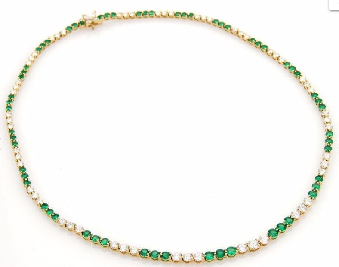 9.50ct Diamonds Emerald 18k Gold Tennis Necklace - 3
