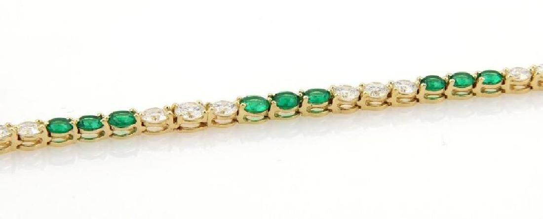 9.50ct Diamonds Emerald 18k Gold Tennis Necklace - 4
