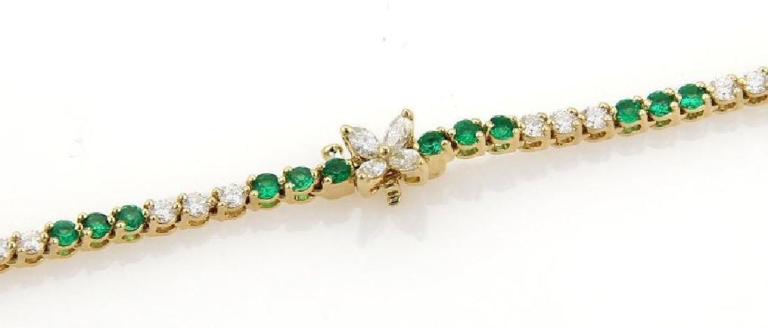 9.50ct Diamonds Emerald 18k Gold Tennis Necklace - 5