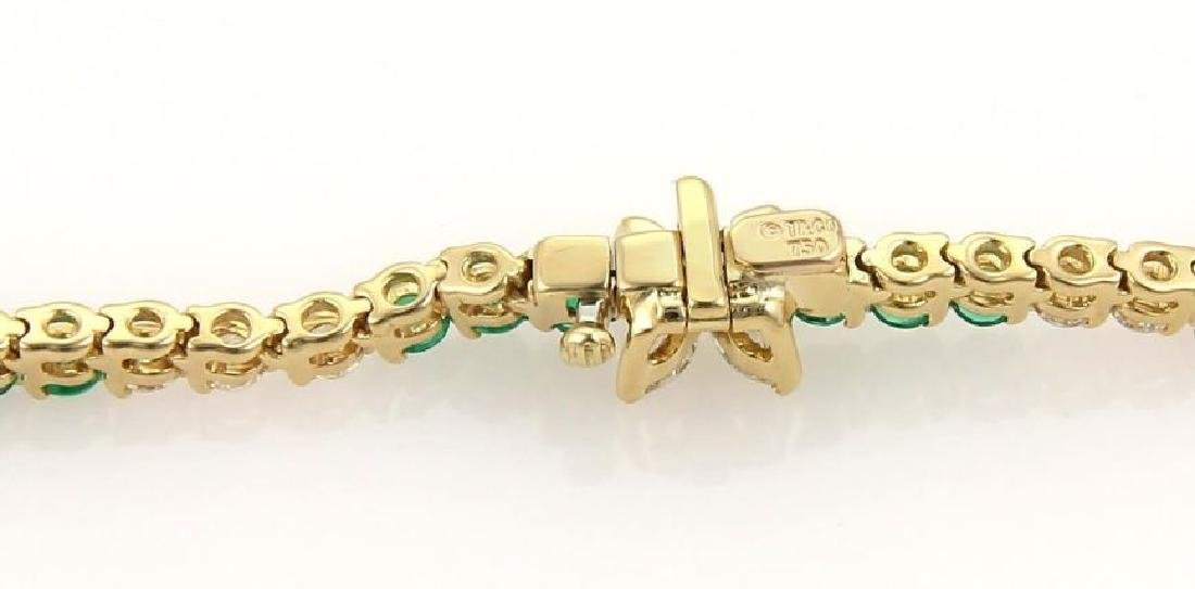 9.50ct Diamonds Emerald 18k Gold Tennis Necklace - 6