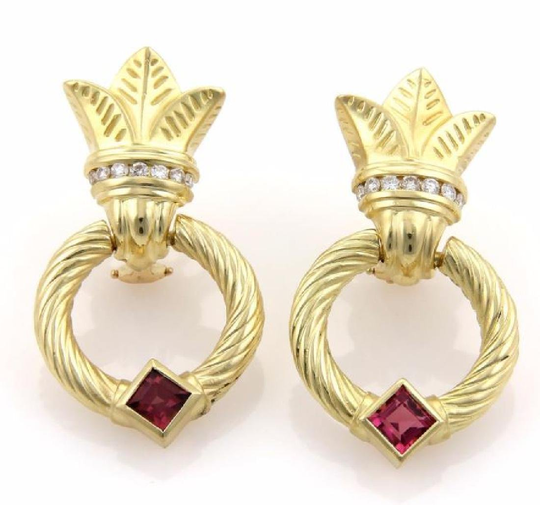 Seidengang Diamond, Tourmaline, Gold Hoop Earrings