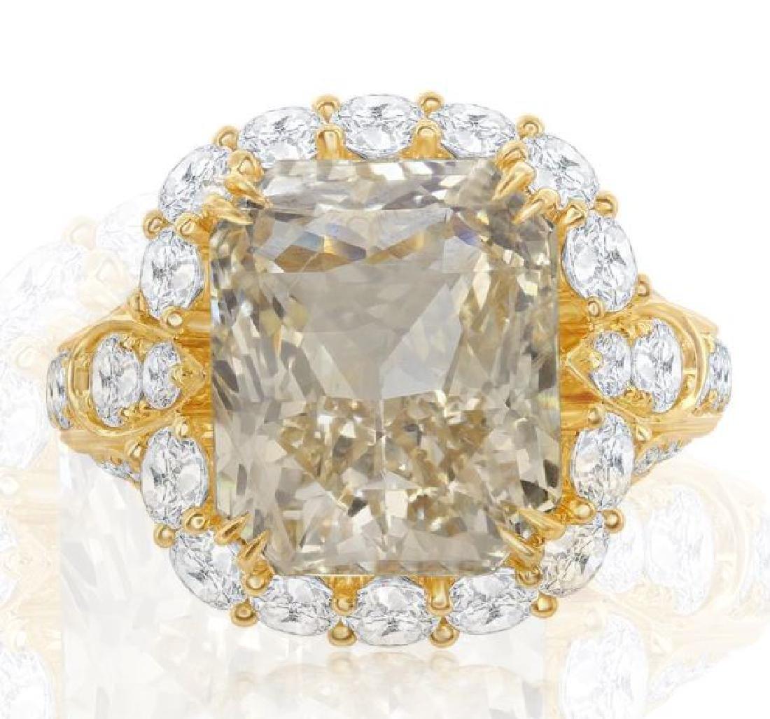 18K GOLD SAPPHIRE RING 3.74ct DIAMONDS, AGL CERT.