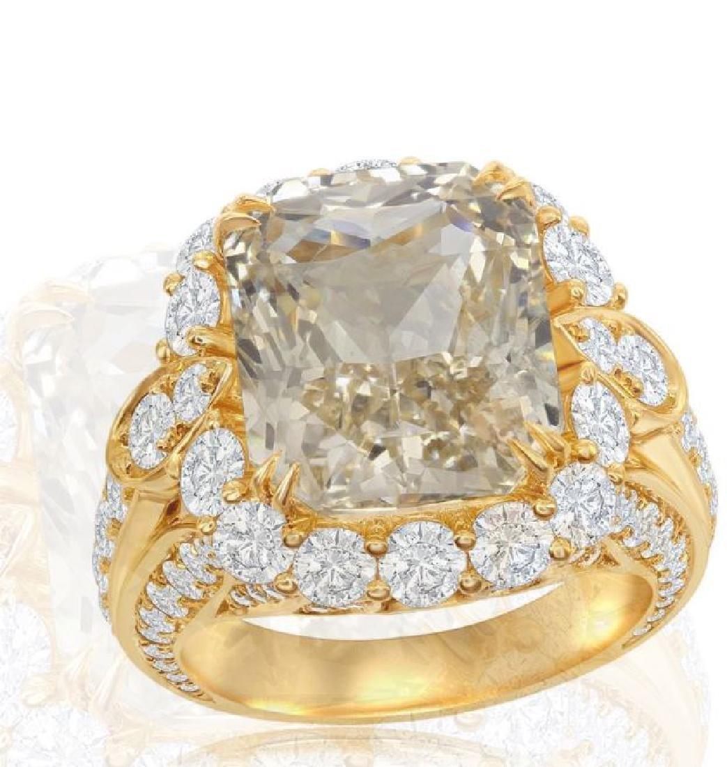 18K GOLD SAPPHIRE RING 3.74ct DIAMONDS, AGL CERT. - 2
