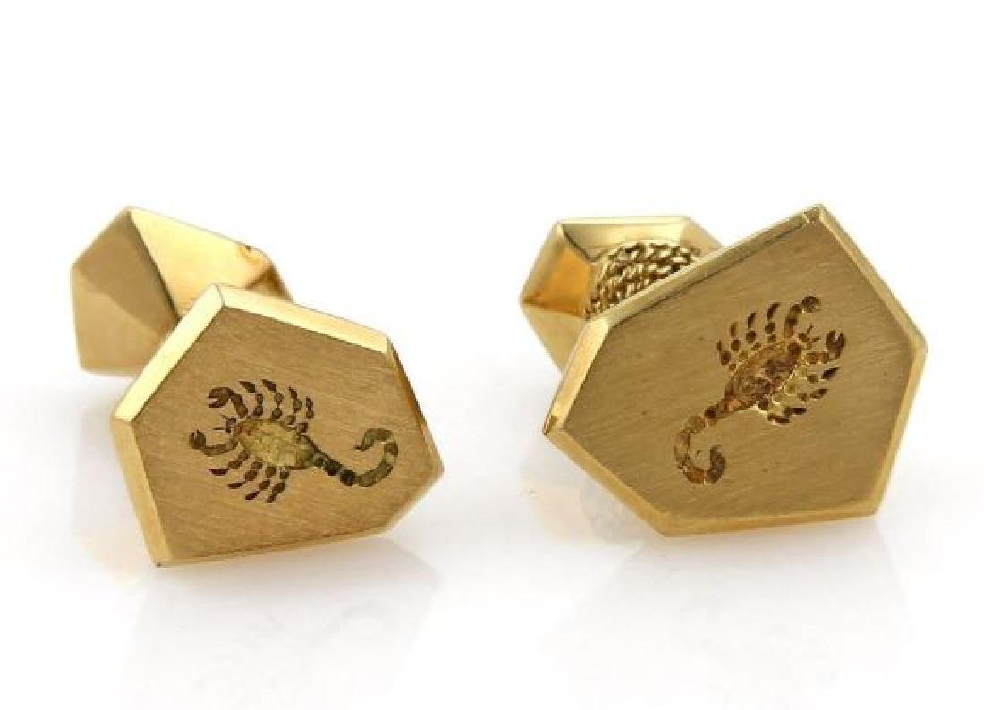 David Webb 18k Gold Carved Scorpion Stud Cufflinks