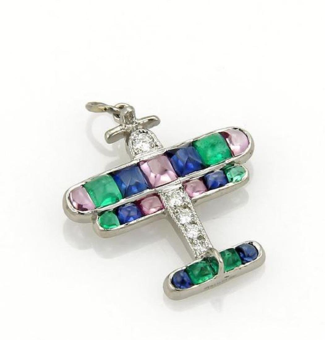 Tiffany&Co Airplane Charm Pendant Platinum Diamond