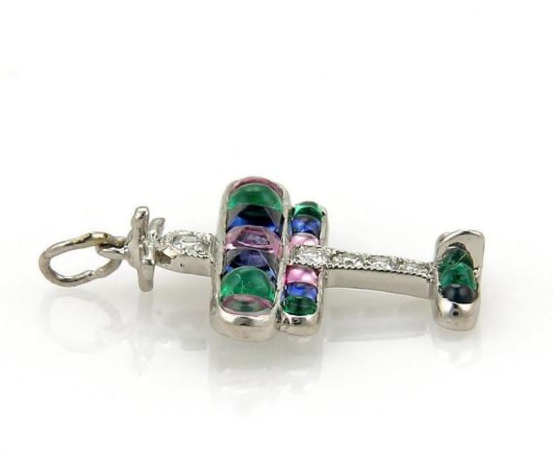 Tiffany&Co Airplane Charm Pendant Platinum Diamond - 2