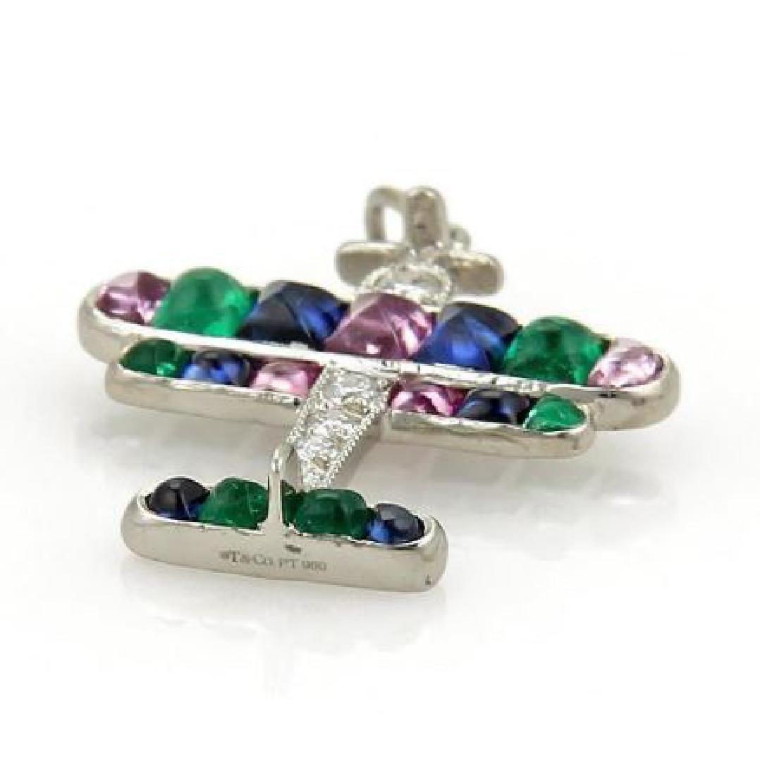 Tiffany&Co Airplane Charm Pendant Platinum Diamond - 4