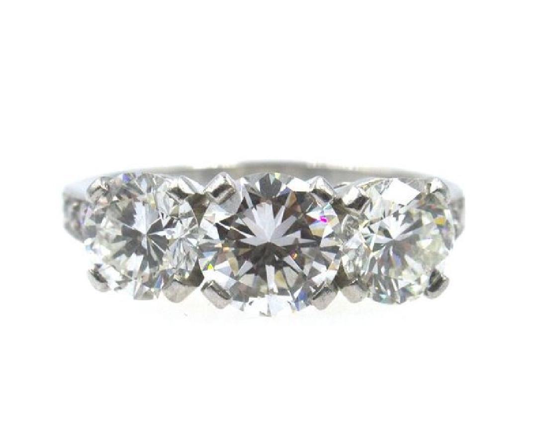 Tiffany & Co 2.77 Ct Three Diamond Platinum Ring
