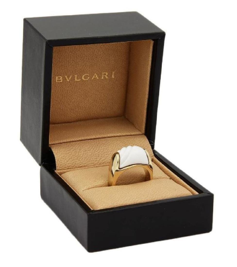Bulgari Tronchetto 18k Y/Gold & White Ceramic Ring