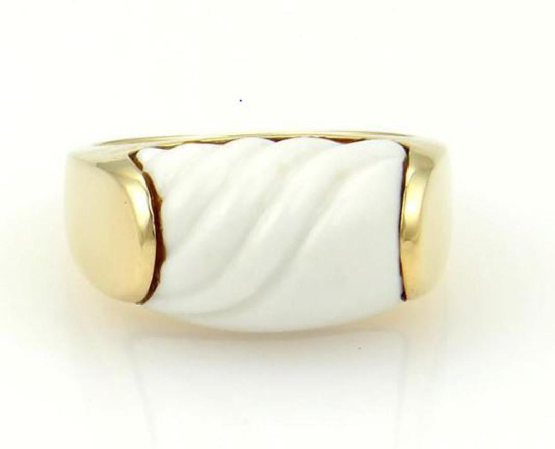 Bulgari Tronchetto 18k Y/Gold & White Ceramic Ring - 2