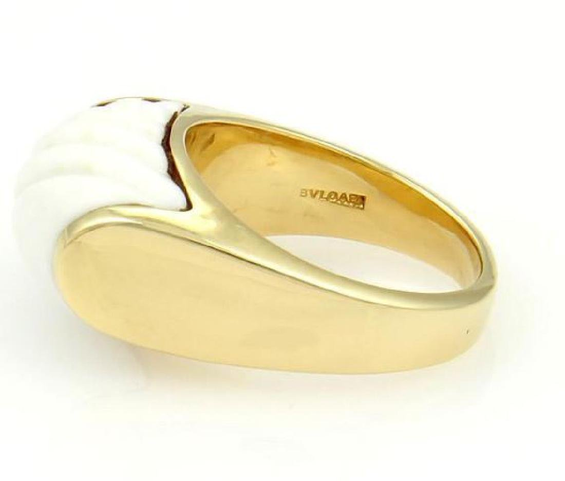 Bulgari Tronchetto 18k Y/Gold & White Ceramic Ring - 3
