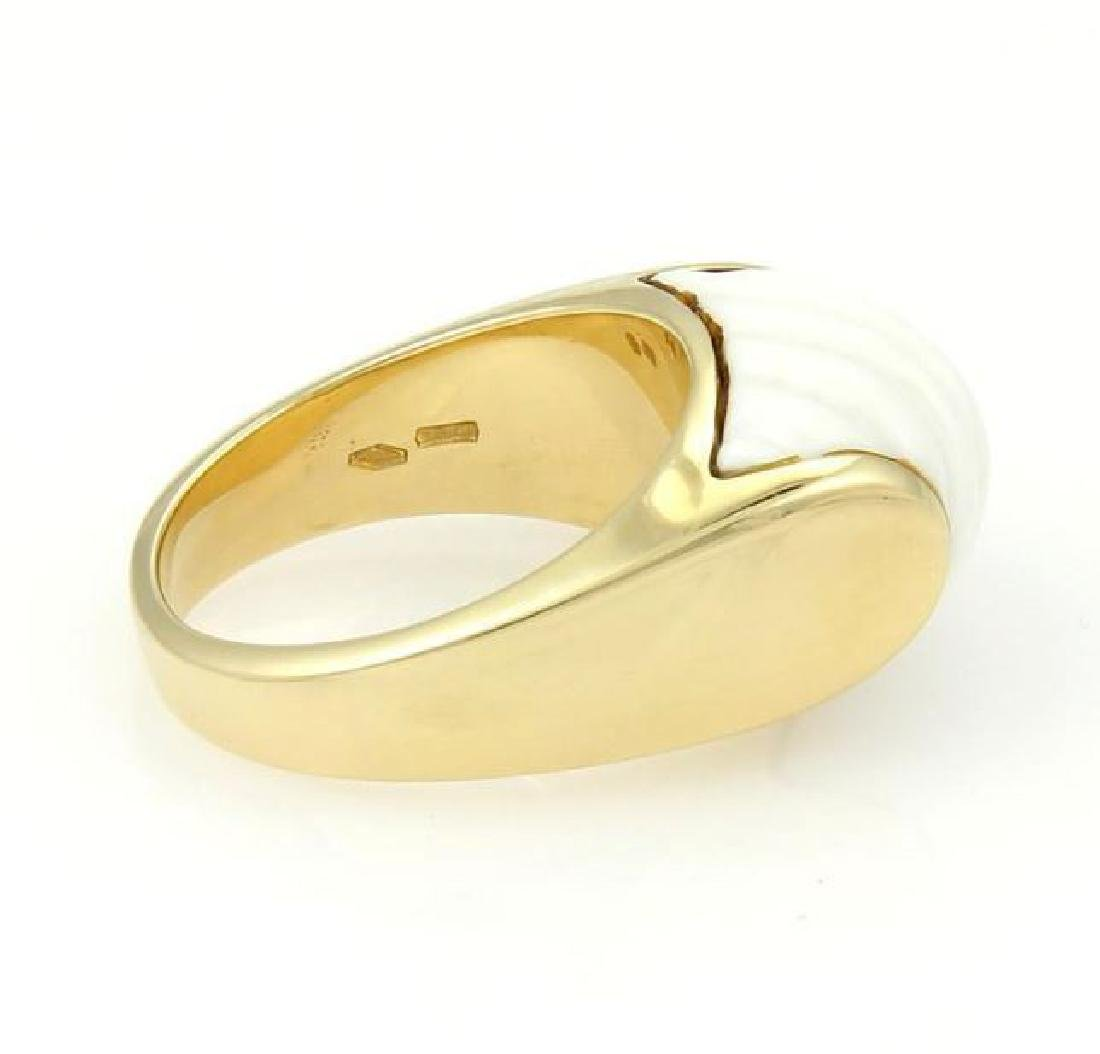 Bulgari Tronchetto 18k Y/Gold & White Ceramic Ring - 5