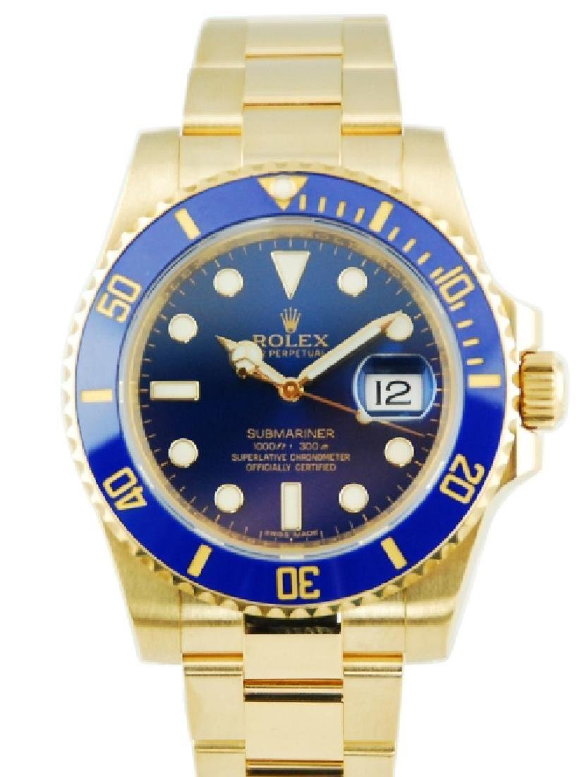 Rolex Submariner 18k Yellow Gold Ceramic Blue Dial