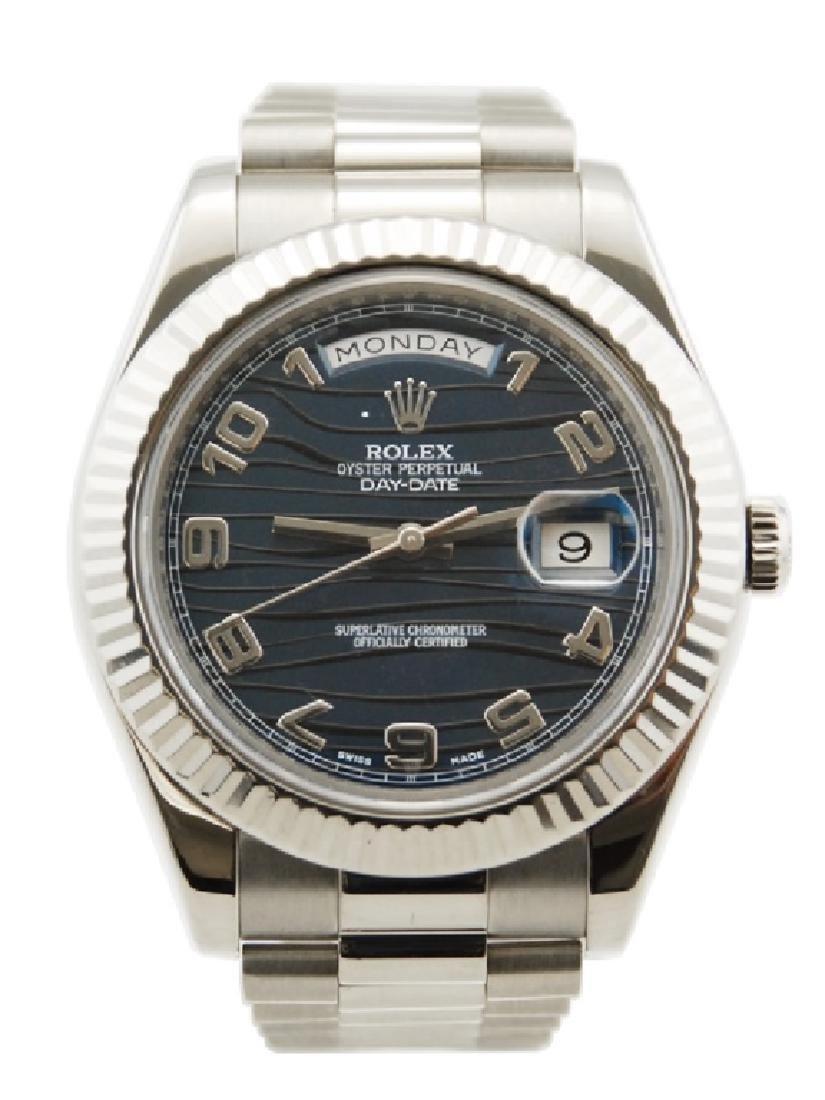Rolex DayDate II 18k White Gold Blue Wavy Dial