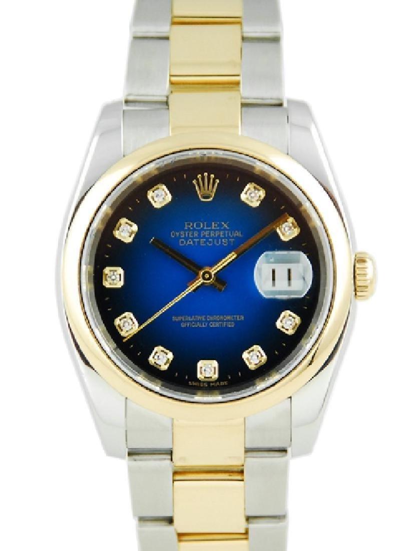 Rolex Datejust SS/YG Blue Vignette Diamond Dial