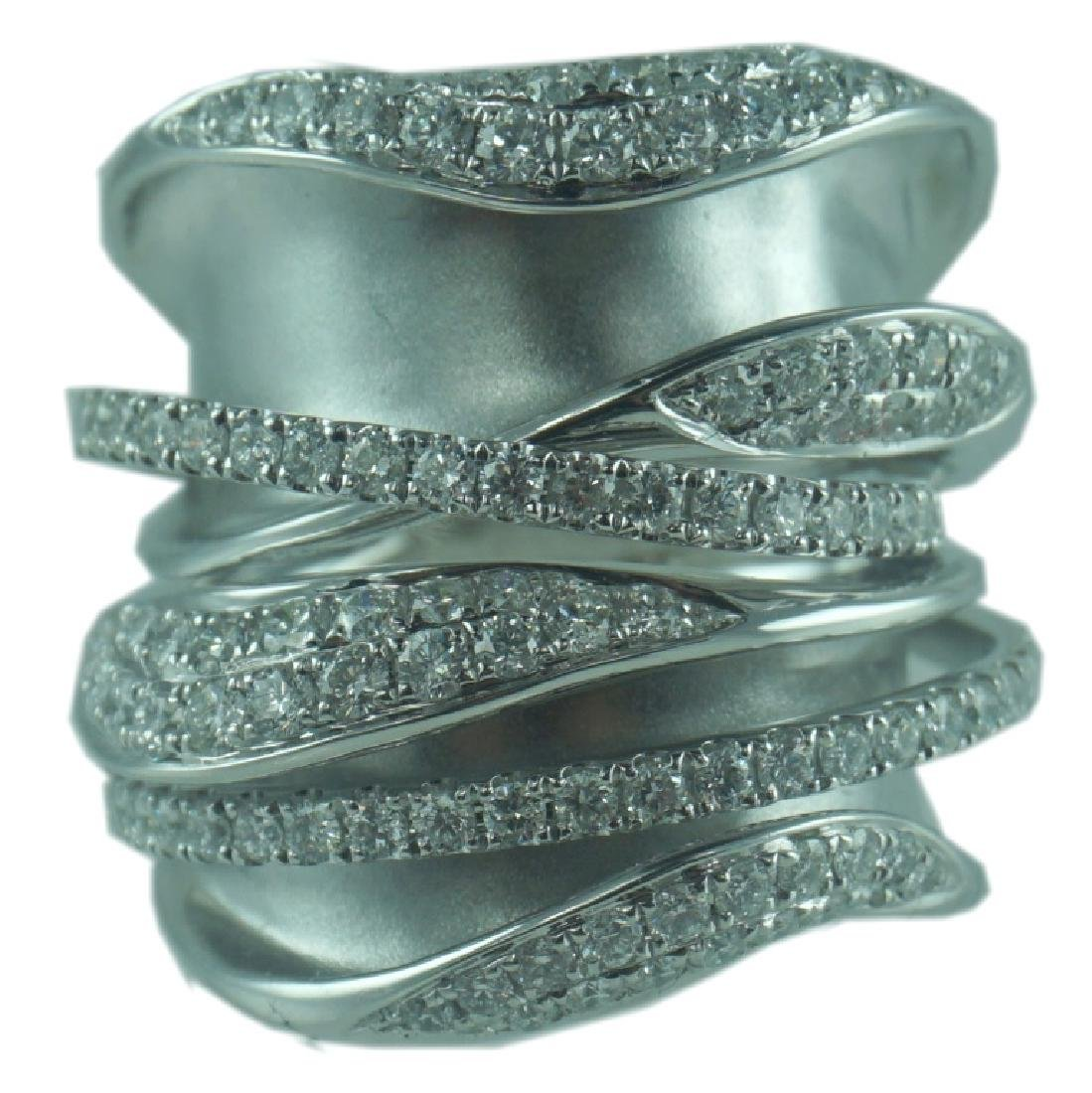 Contemporary 18K Wide Interlock Diamond Ring.