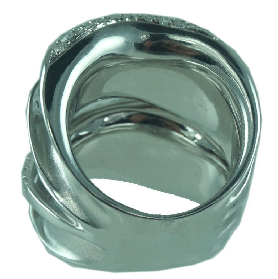 Contemporary 18K Wide Interlock Diamond Ring. - 2