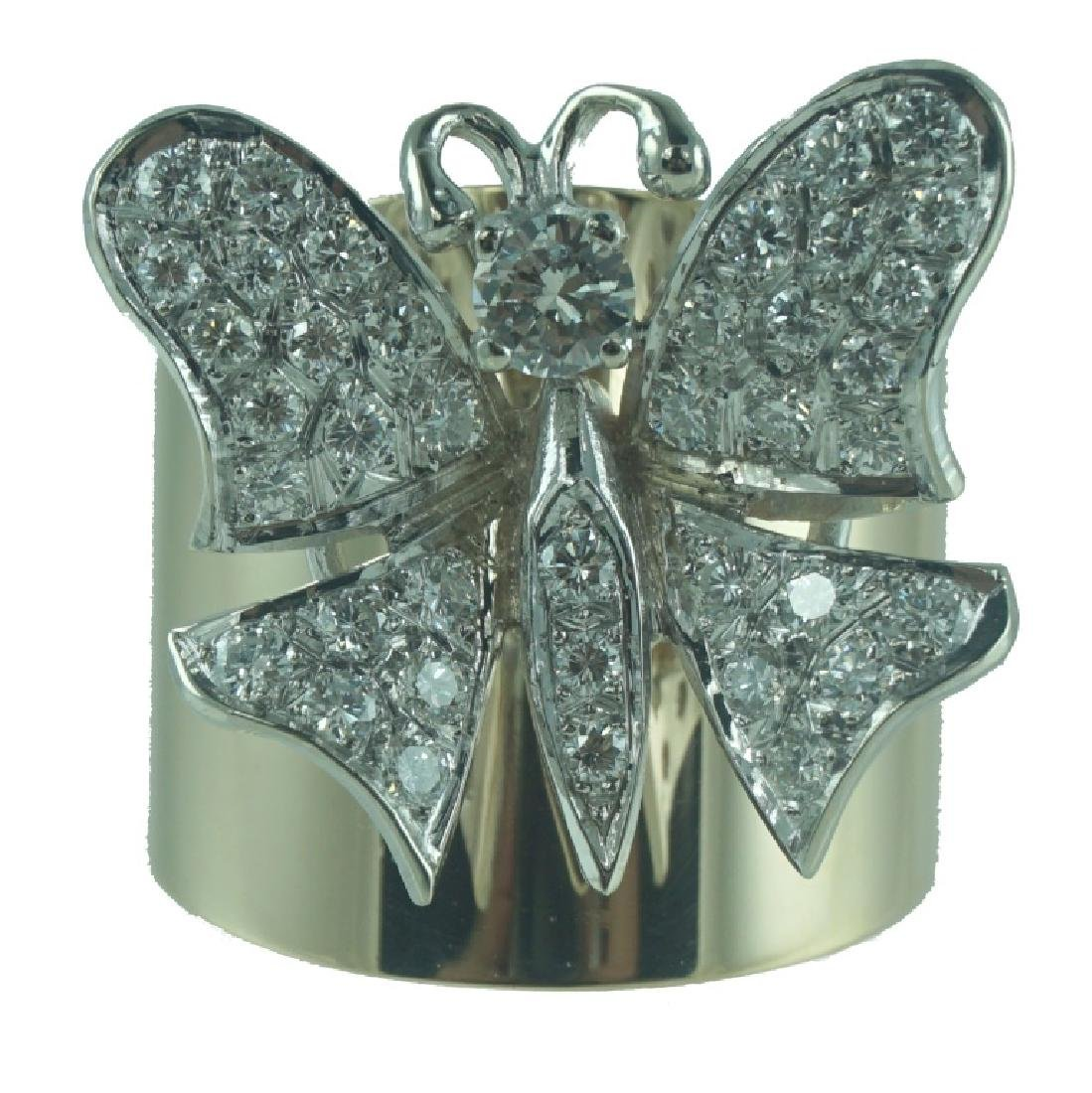 14 Karat Wide Diamond Butterfly Fashion Ring