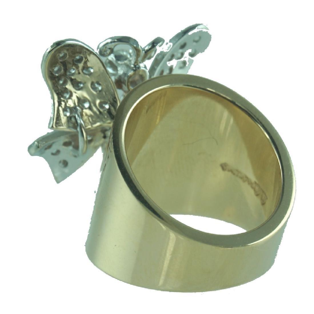 14 Karat Wide Diamond Butterfly Fashion Ring - 2