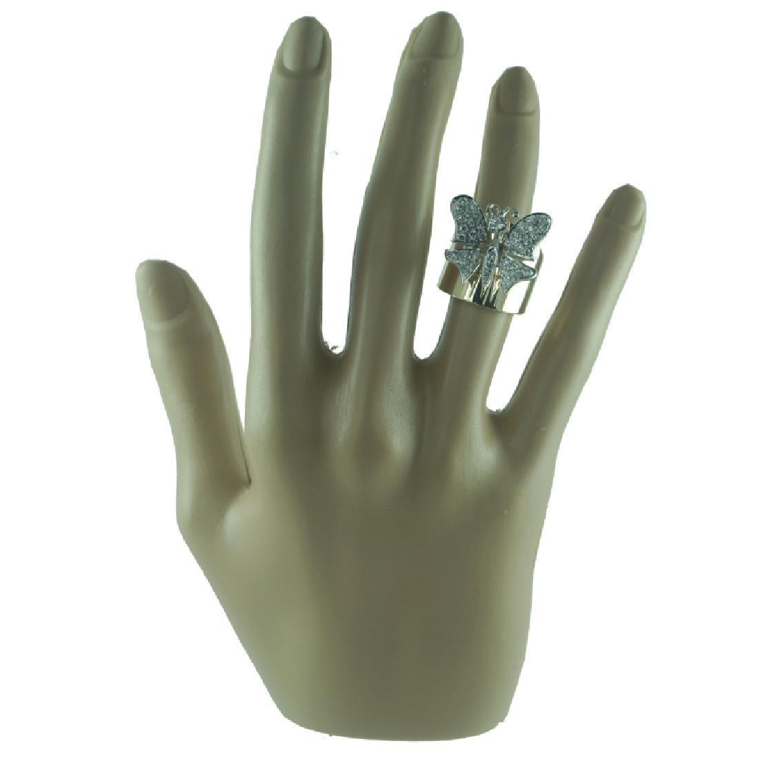 14 Karat Wide Diamond Butterfly Fashion Ring - 3