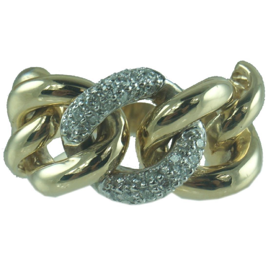 14 Karat Yellow Diamond Link Ring.