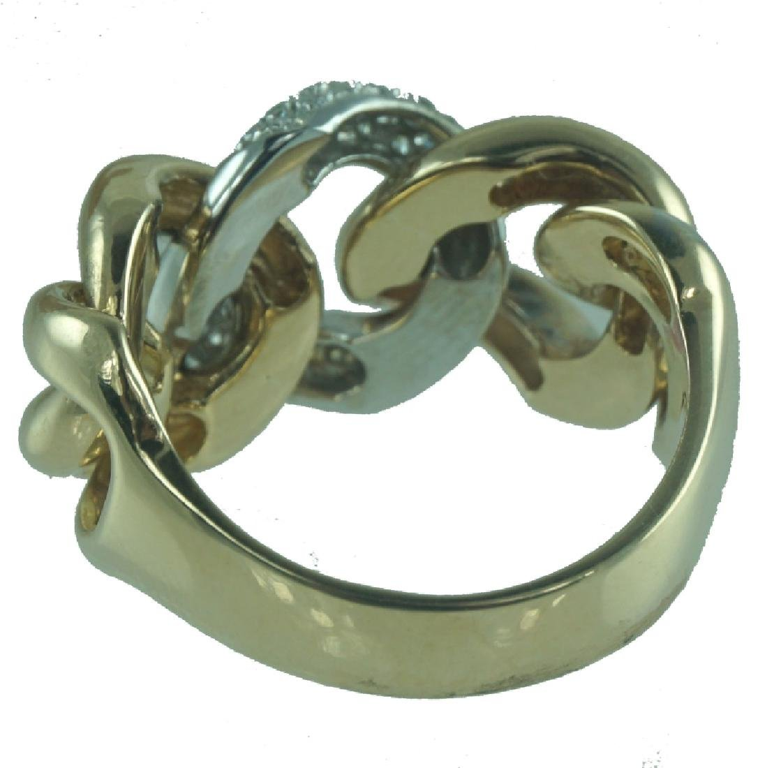 14 Karat Yellow Diamond Link Ring. - 2