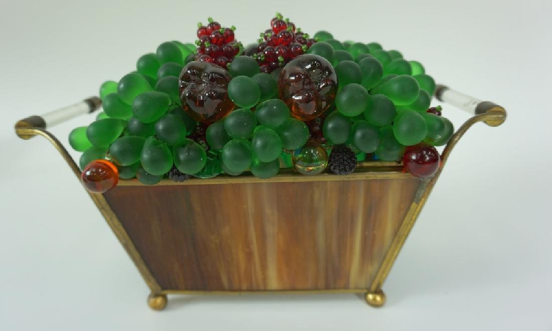 Czech Blown Art Glass Fruit Basket Lamp