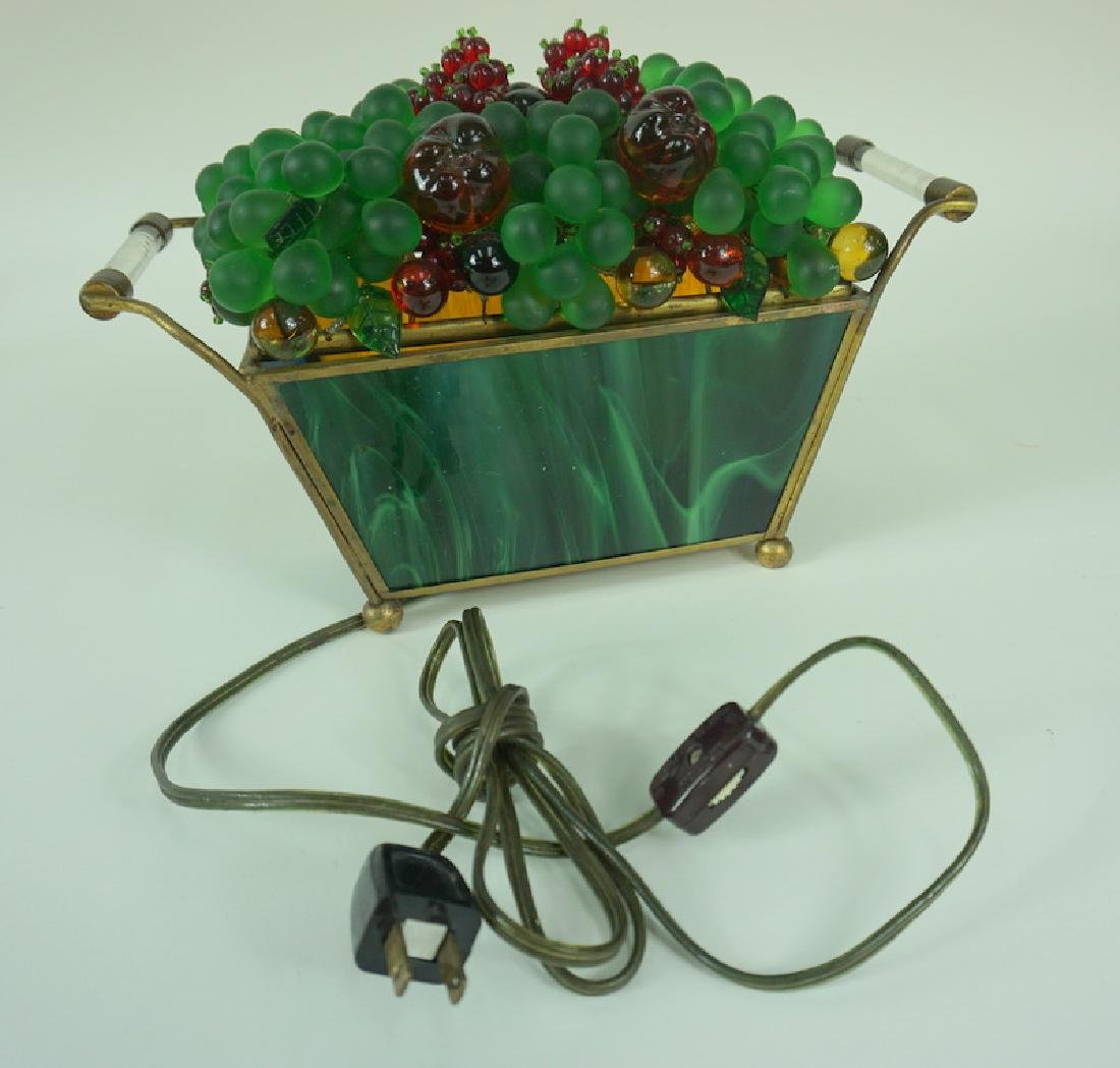 Czech Blown Art Glass Fruit Basket Lamp - 2