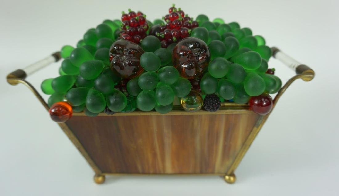 Czech Blown Art Glass Fruit Basket Lamp - 3