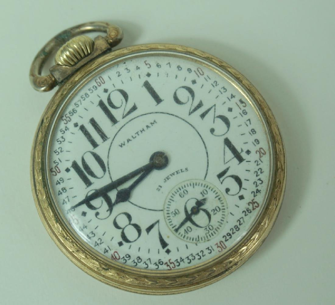 Antique Waltham Gold Plated Railroad Watch - 3