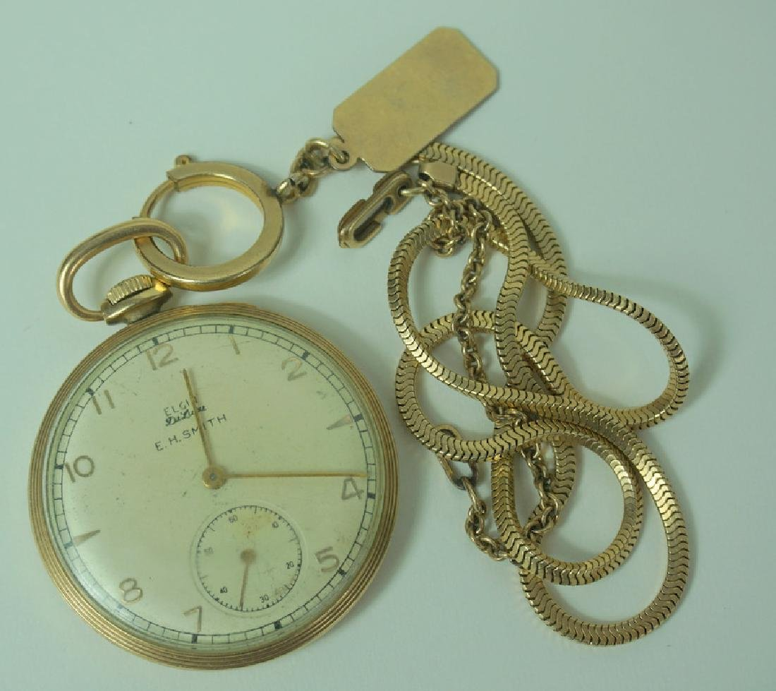 Elgin DeLuca EH Smith 10K GF Pocket Watch w/ Chain