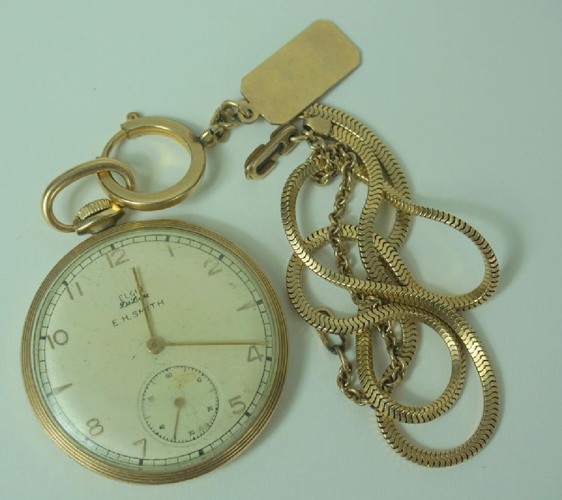 Elgin DeLuca EH Smith 10K GF Pocket Watch w/ Chain